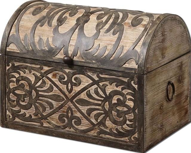 Brown Stained Rustic Wood Storage Box Ornate Metal Hinged