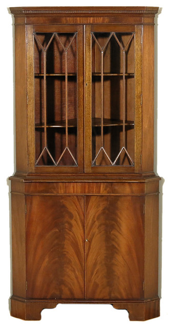 Consigned, 1945 Antique Flame Mahogany Corner Curio Display Bookcase Cabinet - Traditional ...