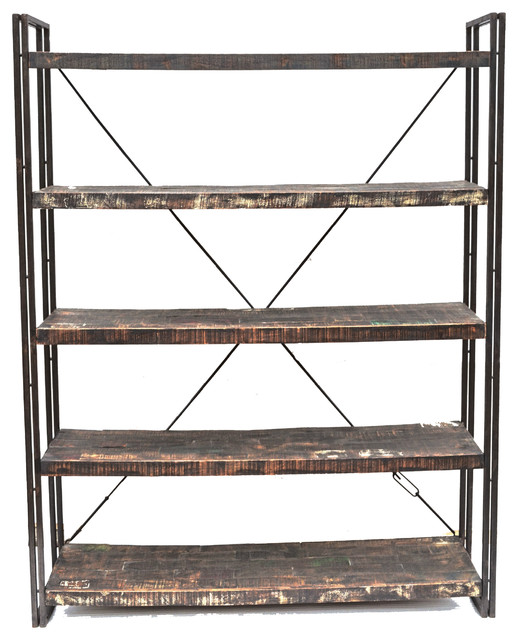 Reclaimed Wood And Metal Book Shelf Farmhouse Display And Wall Shelves