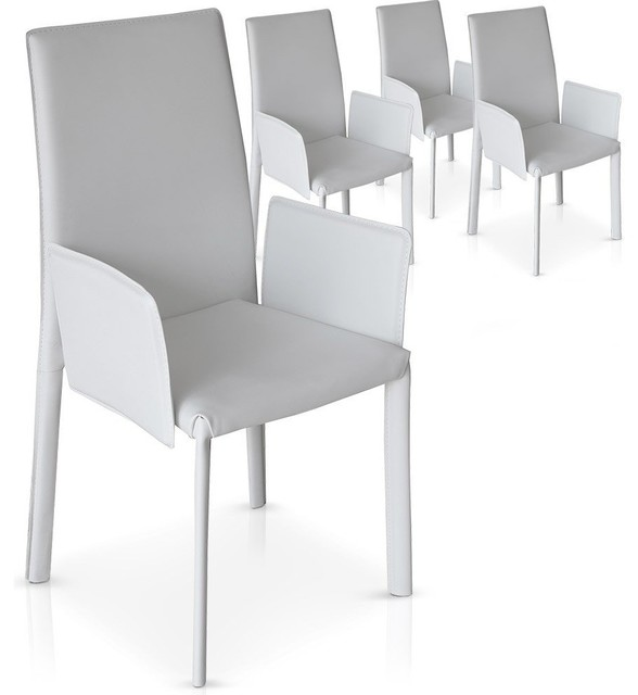 lot de 4 chaises stan blanches design contemporary dining chairs by inside75. Black Bedroom Furniture Sets. Home Design Ideas