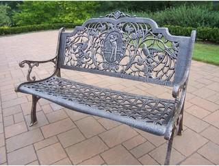 Oakland Living Golfer Cast Aluminum Patio Bench Antique Bronze Modern G