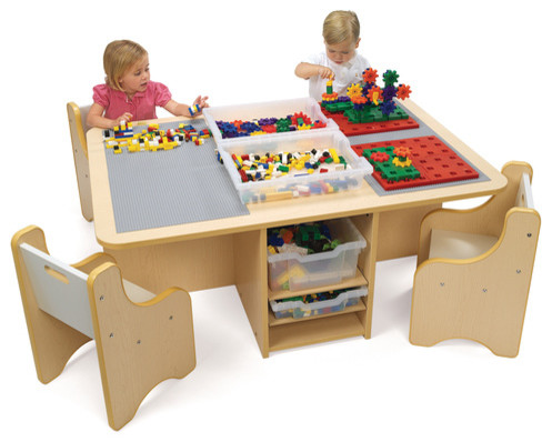 quad activity table with storage contemporary children