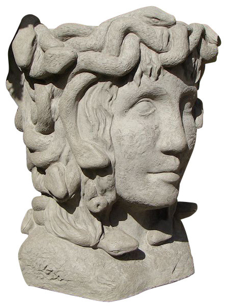 Medusa head planter old stone traditional outdoor pots and planters - Medusa head planter ...