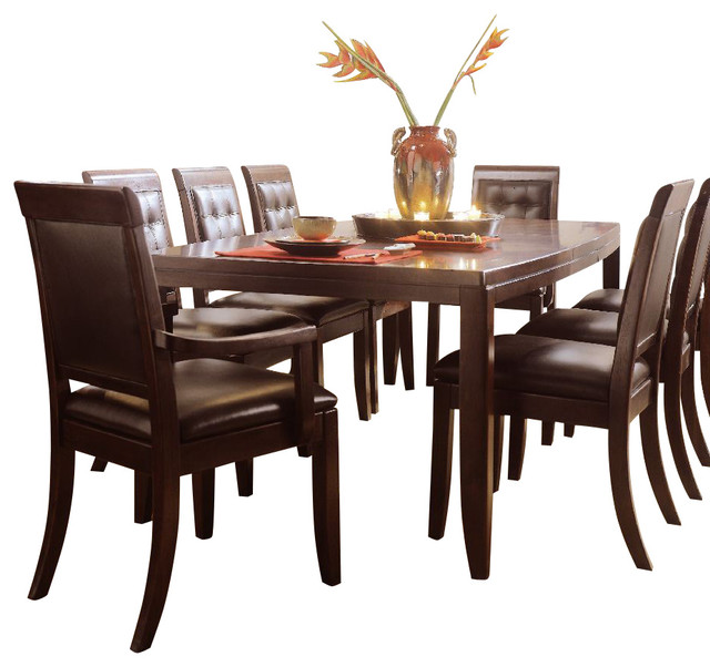 American drew tribecca 10 piece leg table set in root beer for 10 piece kitchen table set