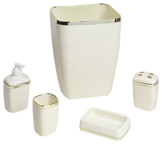Carnation home fashions ivory gold 5 piece bath ensemble for Gold bathroom accessories