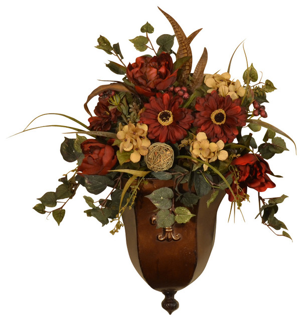 Wall Sconces With Flowers: Burgundy Silk Flower Wall Sconce