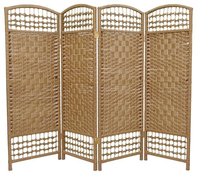4 Ft Tall Fiber Weave Room Divider Natural 4 Panels