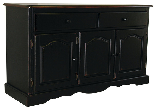 sunset trading 3 door 2 drawer buffet in antique style black
