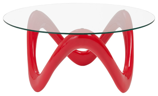 Euro style chelsea collection coffee table in high gloss for Red modern coffee table