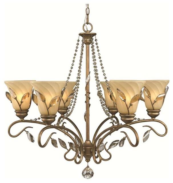 Golden Lighting Beau Jardin Rose Gold 6 Light Chandelier