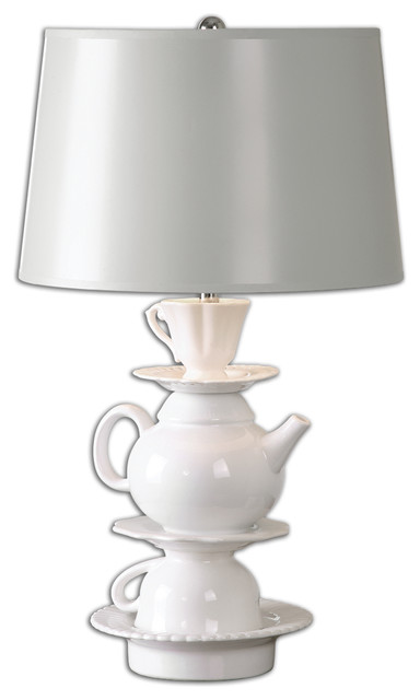 Uttermost Tea Time 1 Light Nickel Table Lamp Farmhouse Table Lamps by B