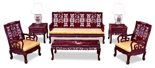 Rosewood imperial court living room set 6 piece set for 6 piece living room furniture sets
