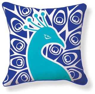 Peacock Double Sided Cotton Pillow - Modern - Decorative Pillows