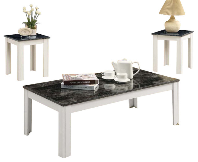 Monarch Specialties 7844p 3 Piece Coffee Table Set In Grey Marble And White Traditional