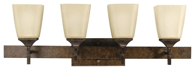 Rustic Bronze Vanity Lights : Asian Marbled Bronze Finish 4-Light 30