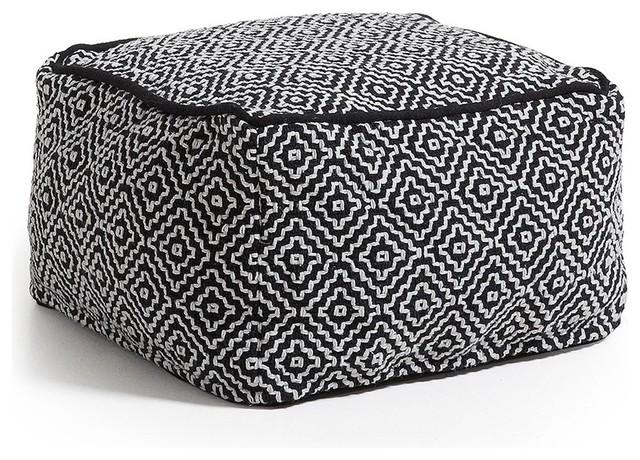 pouf 100 coton d houssable noir et blanc thira scandinave repose pieds pouf et cube par. Black Bedroom Furniture Sets. Home Design Ideas