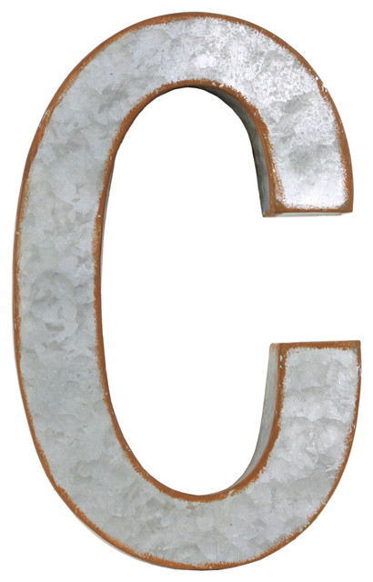 Metal Letter B Wall Decor : Metal alphabet wall decor letter c industrial