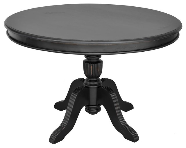 Round dining table in light distressed black finish for Distressed round dining table