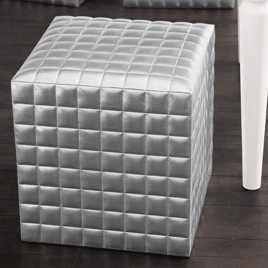 Silve Patent Leather Cube Modern Footstools And