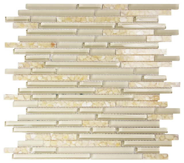 Hebe Linear Glass Mosaic Tile Neutral Transitional
