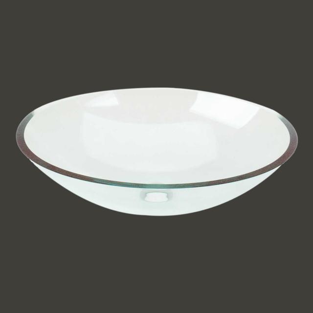 Vessel sinks clear glass green tint havasu oval vessel - Green glass vessel bathroom sinks ...