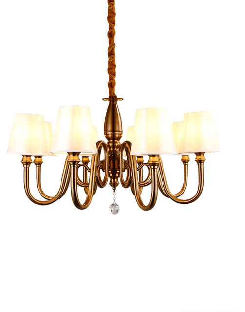 White Fabric Iron Chandelier With 8 Lights Farmhouse