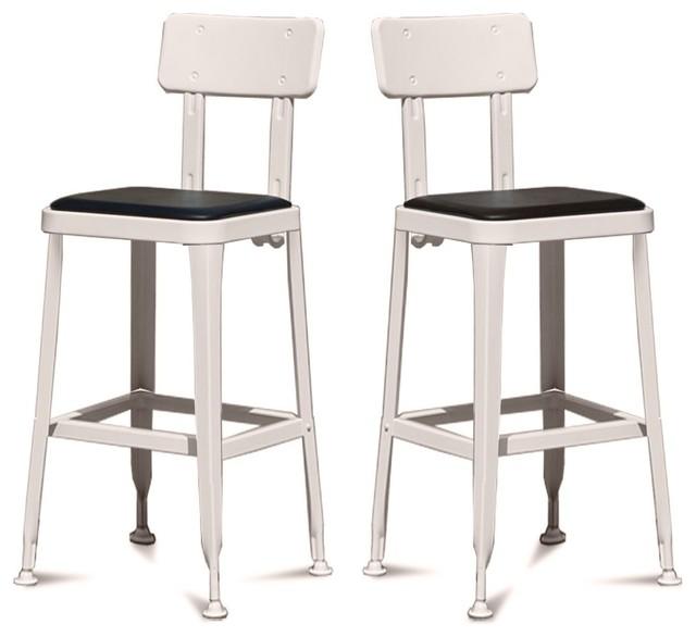 lot de 2 tabourets de bar vintage benvenuto couleur gris clair industriel chaise et tabouret. Black Bedroom Furniture Sets. Home Design Ideas