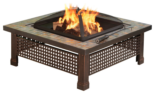 Bradford 34 in outdoor slate fire pit with table lid for Chauffage exterieur table