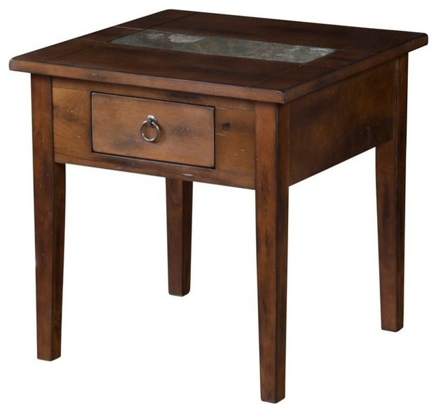 Slate Coffee And End Table Set: Coffee Table With Rustic Ring Pulls And Slate Inlay