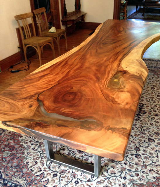 Custom Live Edge Monkeypod Wood Slab Table Traditional