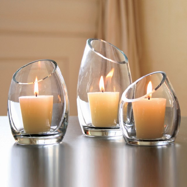 Hearthstone Diagonal Cut Glass Candle Holders - Modern - Candleholders - by Shopko