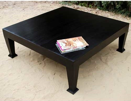 Rustic Wood Black Cocktail Sofa Square Coffee Table