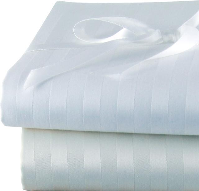 Via Frattina Italian Stripe Pillow Cases King Ivory