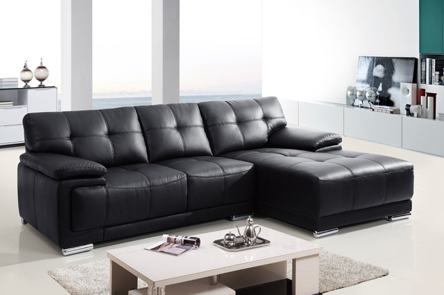 Modern small black leather sectional sofa couch chaise for Black leather chaise lounge sofa