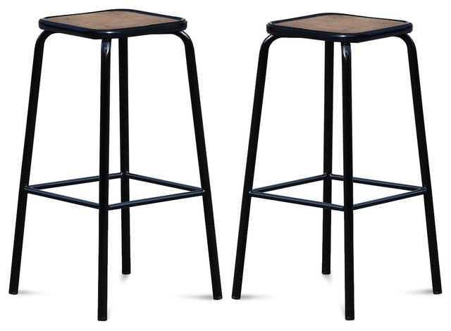 lot de 2 tabourets de bar vintage maitresse couleur noir. Black Bedroom Furniture Sets. Home Design Ideas