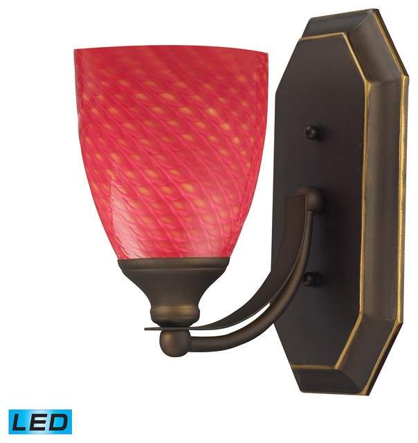 Vanity LED 1-Light Bathbar in Aged Bronze and Scarlet Red Glass - Contemporary - Bathroom Wall ...