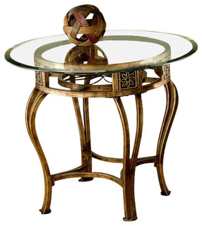Hillsdale Scottsdale 26 Inch Round End Table With Glass Top in Gold ...