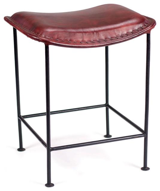 Cadiz Wrought Iron and Red Leather Stool Industrial  : industrial bar stools and counter stools from houzz.com size 534 x 640 jpeg 49kB