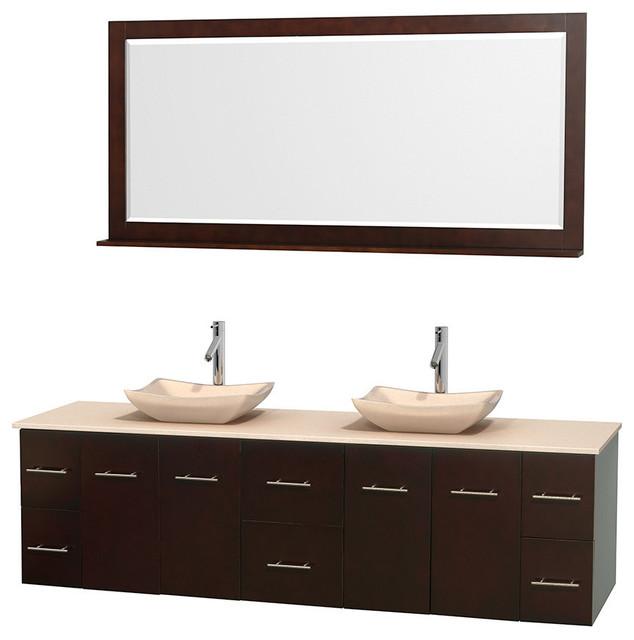 80 Double Bathroom Vanity In Espresso Ivory Marble Countertop 70 Quot