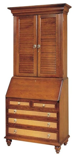 Secretary desk with louvered door hutch dove contemporary desks writing bureaus by - Modern secretary desk with hutch ...