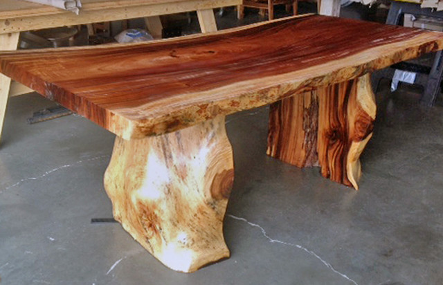 Natural Edge Dining Table With Tree Trunk Legs 40 X 8 0 Long 30 Tall Eclectic