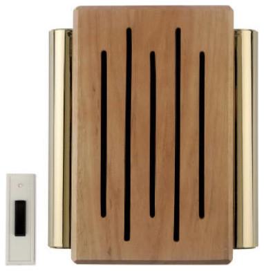 Wireless Battery Door Chime Oak Decorator Modern