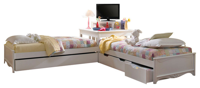 Lea Haley 2 Twin Platform Beds with Corner Unit in White - Traditional - Kids Beds - by Beyond ...