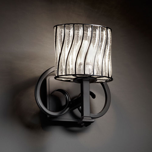 Bathroom Light Fixtures Matte Black: Wire Glass Heritage Matte Black Wall Sconce