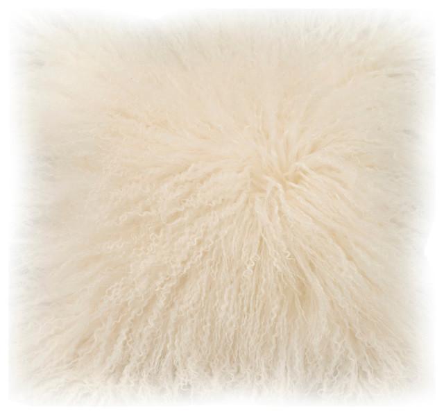 Cream Fur Throw Pillows : Moe s Home Lamb Fur Pillow Cream - Contemporary - Decorative Pillows - by Beyond Stores