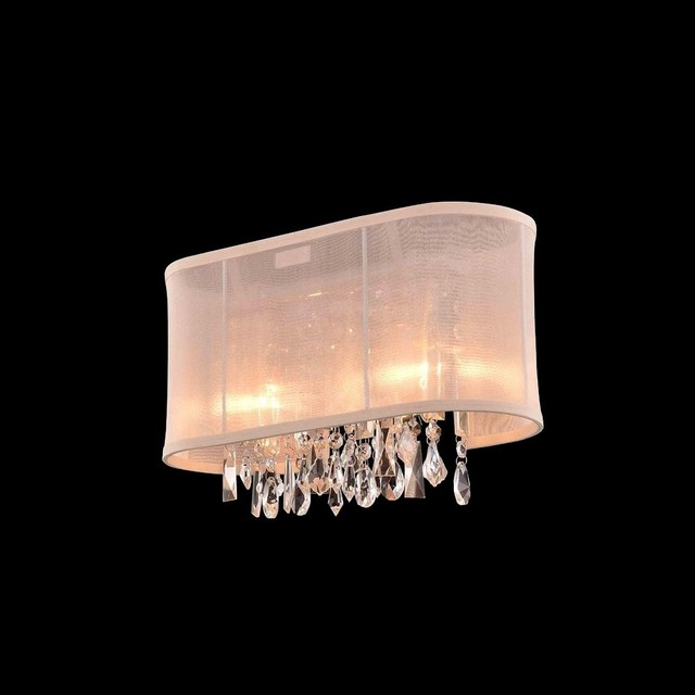 Vanity Light Bar Crystal : 2-light Chrome Crystal Bar Wall Vanity Light with Cream Shade - Contemporary - Wall Sconces - by ...