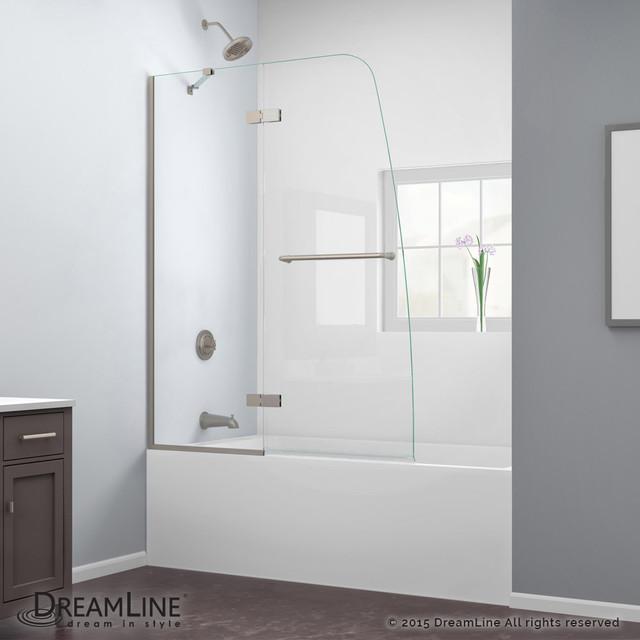 DreamLine Aqua Ultra 48 Frameless Hinged Tub Door Clear Glass Brushed