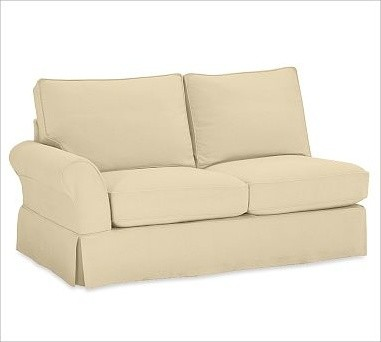 PB Comfort Roll Arm Left Love Seat Slipcovers Organic Cotton Canvas Honey