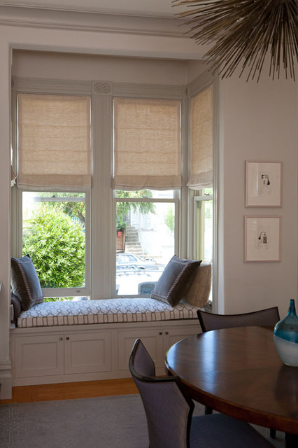 Motorized roman shades in a bay window and built in window for Roman shades for bay windows