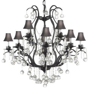 Wrought Iron Crystal Chandelier Dressed With Crystal Balls